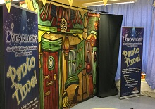 Picture of pantomime backdrop in the playroom on the Children's Ward