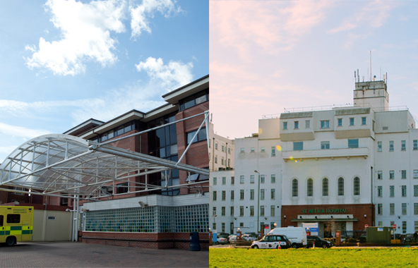 Front of the main hospital buildings at St Helier and the front of our emergency Department at Epsom