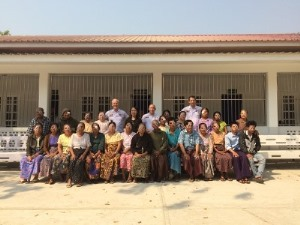 Our three consultants outside the Sagaing Institute