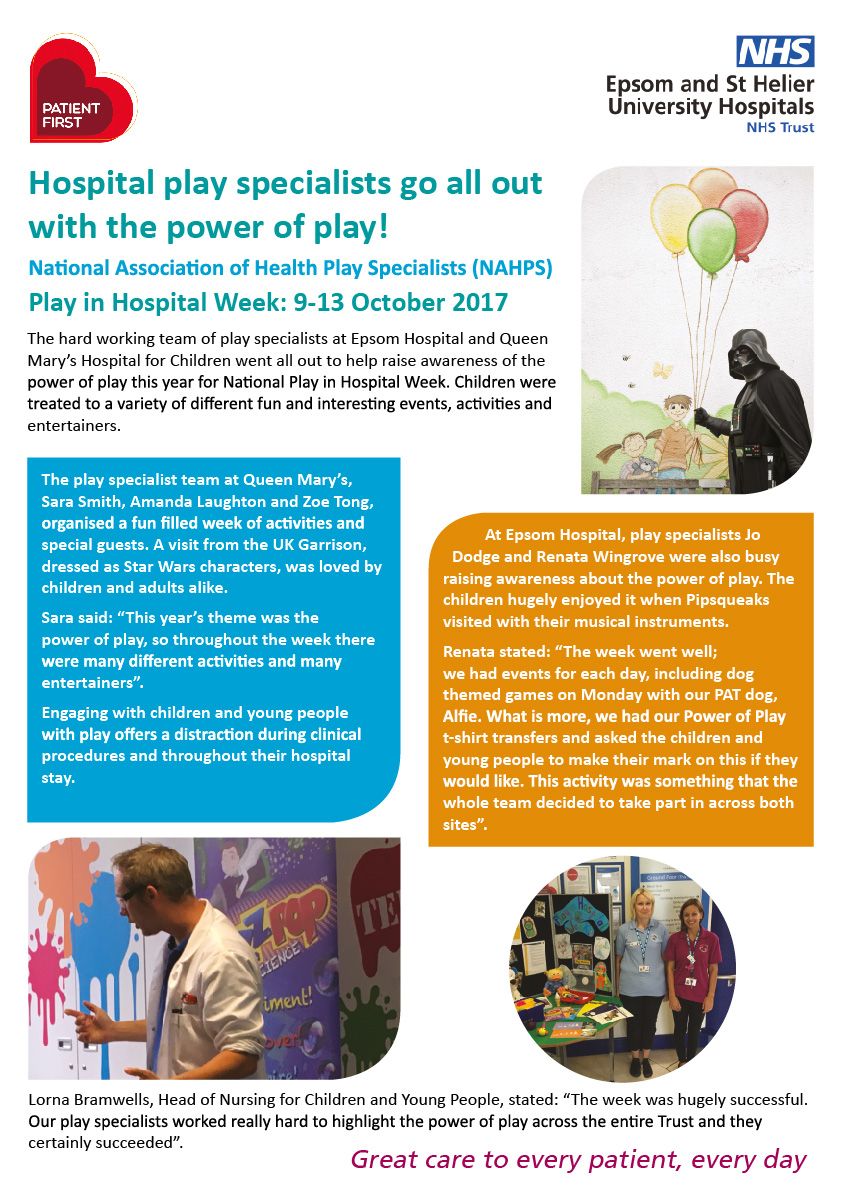 Play in hospital week poster 2017