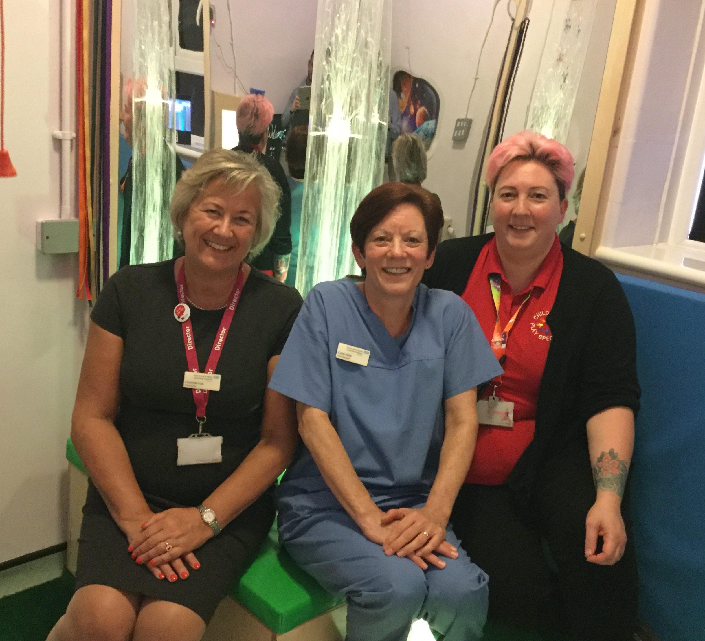 Charlotte, Carol and Zoe in St Helier's sensory room