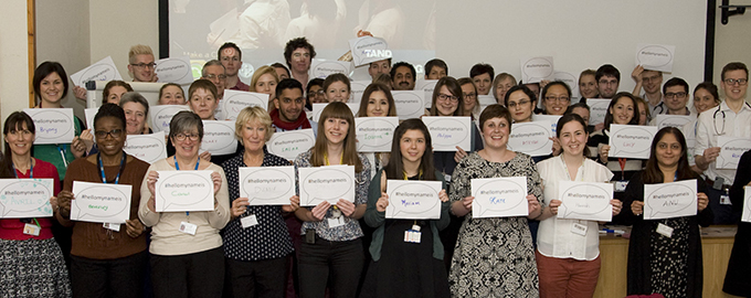 Kate Granger and our staff launching the #hellomynameis campaign at our hospitals