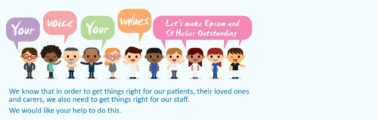 We know that in order to get things right for our patients, their loved ones and carers, we also need to get things right for our staff.  We would like your help to do this.