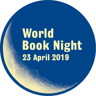 Big blue moon with the words World Book Night 23 April 2019