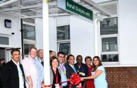 Nina Wadia cuts the ribbon in front of staff and invited guests as she declares the Haemodialysis Unit open