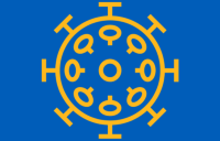 Coronavirus illustrative icon yellow on blue